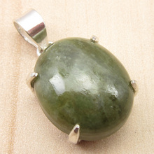 "GREEN Jades Pendant ! Low Price Gemset, ARTWORK Silver Plated Jewelry 1.1"" NEW"