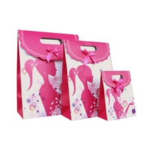 Free Shipping 12 X Girl Gift bag Wedding Birthday Party Paper Portable Gift Bag Party Favor Supply(China)