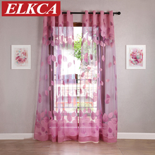 Leaves Burnout Purple Tulle Curtains for Living Room Luxury Window Curtains for the Bedroom Kitchen Curtains for Kids Room Sheer(China)