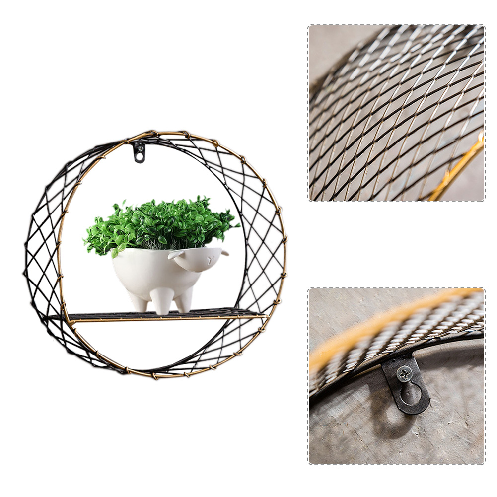 3 Sizes Retro Wall-Mounted Metal Rack Circular Mesh Iron Shelf Industrial Style Round Shelf Office Sundries Organizer Home Decor 7