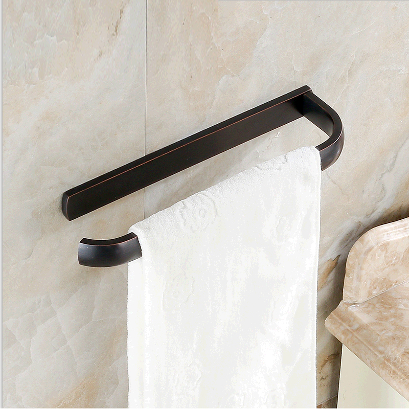 European Antique Bathroom Accessories Copper ORB Single-layer Towel Bar<br>