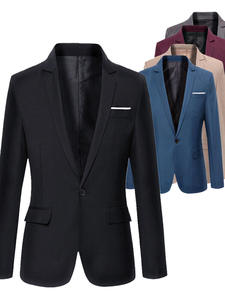 Blazer Jacket Coat Long-Sleeve Formal Cotton Notched One-Button-Suit Top Slim-Fit Blend