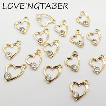 Buy 16mm*15mm 30pcs/lot Gold Color Heart Rhinestone Small Charm Pendants Jewelry Making Handmade DIY Accessories for $5.01 in AliExpress store