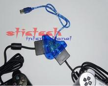 by dhl or ems 50 pieces USB To player Adapter Convertor Cable For SONY PS2 PC Playstation Game Controller Converter Computer(China)