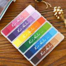 1 pcs/lot Multicolor candy color Ink pad diy rubber stamp fabric inkpad for decoration album scrapbooking toy for kids(China)