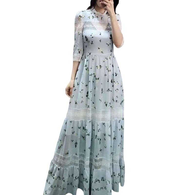 runway dresses 2019 women high quality see through transparent white lace floral print maxi dress ruffle collar bohemian dress