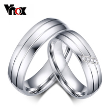 Vnox Fashion Wedding Rings Stainless Steel Ring Female Male Promise Ring Cubic Zirconia Couple Jewelry Sales Promotion(China)