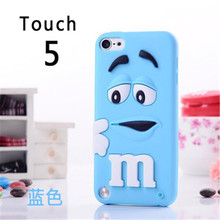 Cute 3D Cartoon M&MS Chocolate Bean Soft Silicone Case Skin Cover For Apple iPod Touch 5 5th 5G Phone Cases(China)
