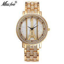 Miss Fox New Fashion Stainless Creative Woman Watch Quartz Wristwatch Gold High Quality Crystal Red Diamond Watches With Box(China)