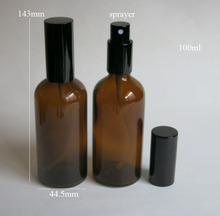wholesale 100ml amber glass bottle with black sprayer , 100 ml glass essential oil bottle, glass brown 100ml perfume  bottle