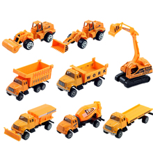8pcs/set New mini Diecasts Car alloy construction vehicle Engineering Car Dump Truck Artificial Model Toys For kids