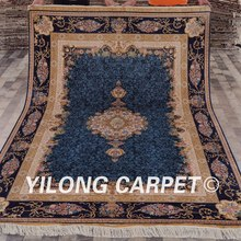 Yilong 6'x9'  Handmade blue turkish knot carpet unique design silk modern art carpet (ZQG88A6x9)