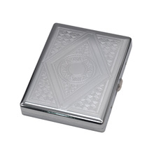 1X Metal Cigarette Case (105mm*80mm) Holding 18 Regular Size Cigarettes (85mm*8mm) Tobacco Case Box With 2 Clips.Pattern Random(China)