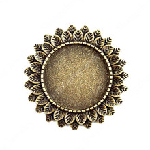 10pcs  Bronze  Plated Sun Flower Iron Disc Shaped Brooch Base with Safety Pins Diy Jewelry Findings Accessories Supplier China