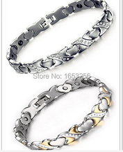 Ladies / Women  Crystals  Stainless Steel Energy Magnetic Germanium Heart Link  Chain Bracelet For Wife / Husband gifts