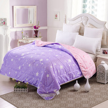 Summer Quilts 2017 High Quality Purple Pink Moon Stars Duvet Blankets Washable Breathable Thin Comforters Twin Queen Full Size