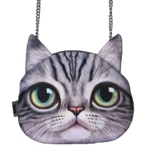 Small Size New Designed Female Retro Cartoon 3D Animal Printing Shoulder Bags Cat Shape Women Handbag, SKU 0313A(China)