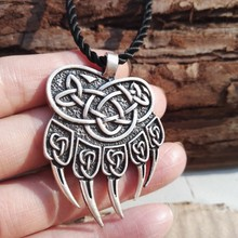 1pcs new fashion viking jewelry viking impress of veles pendant bear paw necklace huge warding veles pendant jewelry SanLan(China)