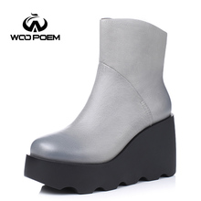 WooPoem Autumn Winter Shoes Women Breathable Cow Leather Boots High Heel Ankle Boots Fashion Platform Classic Women Boots 188-1