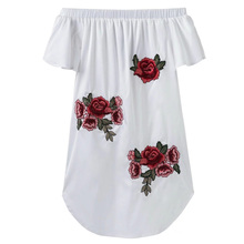 Sexy Off the Shoulder Slash Neck Floral Pattern Embroidery Short Sleeve Cute Women Slim Straight Mini Dress 3 Colors Temperament