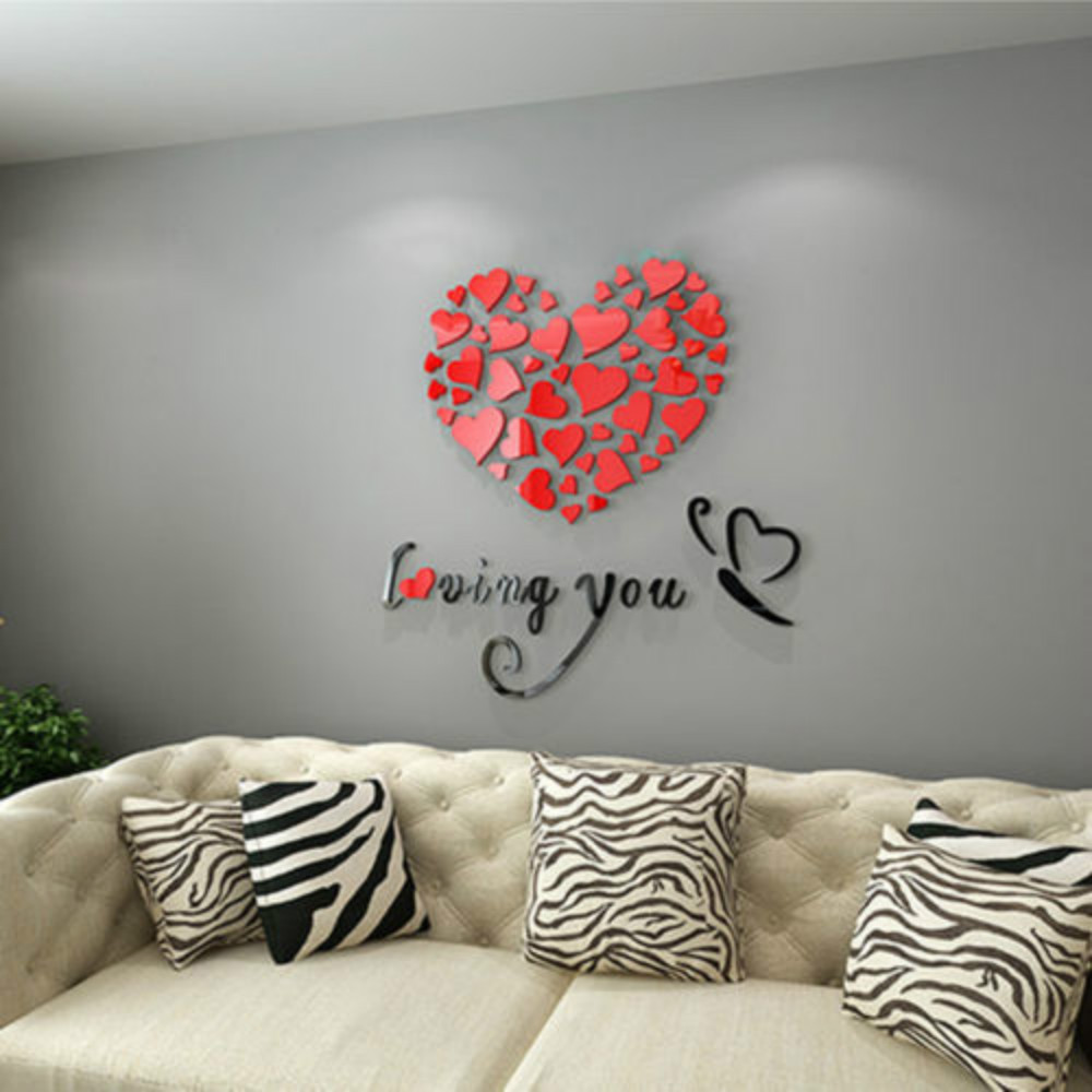 Home Decor 3D Mirror Love Wall Stickers Quote Flower Acrylic Decal Home DIY Art