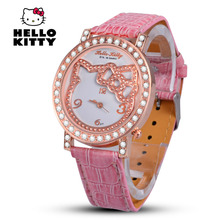 Hello Kitty Women WristWatches Cartoon Quartz Leather Cute Watch Children Fashion 3D Wholesale Crystal Time Hours Christmas Gift(China)