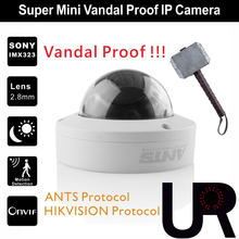 Super Mini Vandal Proof 12pcs IR LEDs Indoor Onvif IP Camera with 2.8mm Wide View Angle Lens Designed for ANTS and Hikvision NVR