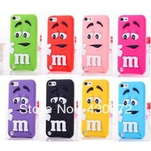 For ipod touch 5 Cute 3D Silicon Chocolate Candy Rainbow Bean Soft Cell Phone Back Case Cover for ipod touch 5 5g