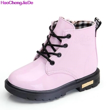 Girls Martin Boots Girls Boys Shoes 2016 Autumn PU Leather Children Boots Fashion Toddler Kids Boots Warm Winter Boots Boy(China)