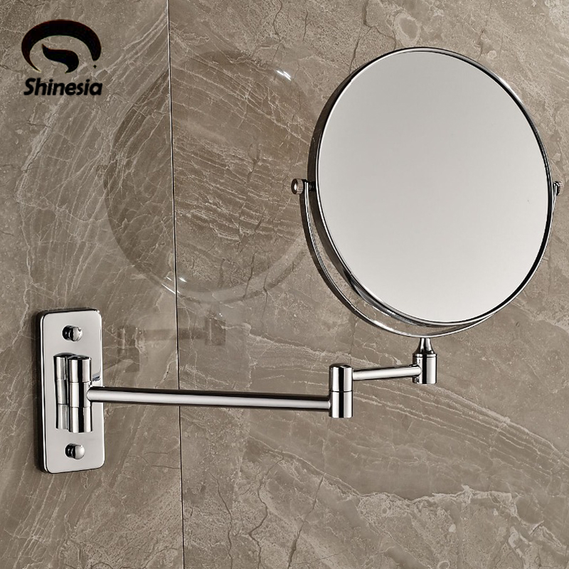 Wall Mounted Chrome 8 Mirror Makeup Mirror Dual Sides Round Mirror Magnifying Mirror<br>