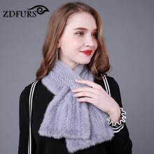 ZDFURS *  Hot sale Genuine Knitted Mink Fur Scarf Real Mink Fur Ring For Women Fashion 2017 New Winter Fur Scarves Shawl
