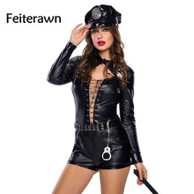 Feiterawn Halloween Costumes for Women Sexy Adult Uniform New Year Stylish 6pcs Female Cop Costume DL89032