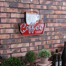 America Style Decorative Vintage Bar Coffee House Background Wall Neon Sign LED Iron Retro Restaurant Metal AD Signs(China)