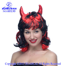Perruque Short Perucas 2015 Promotion Synthetic Wigs Cosplay Wig Free Shipping Cheap Hot Sale RED WITH BLACK DEVIL WIG(China)