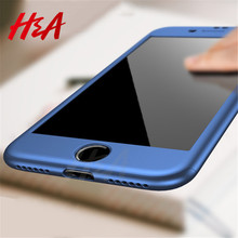 Buy H&A 360 Degree Full Protection Case iPhone 8 7 6 6s Plus 5 5s se Phone Cases iPhone 6 8 7 Plus Cover Case Tempered Glass for $2.92 in AliExpress store