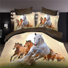3d horse bedding set duvet/doona cover bed sheet pillow cases 4pcs queen size velvety bedclothes(China)