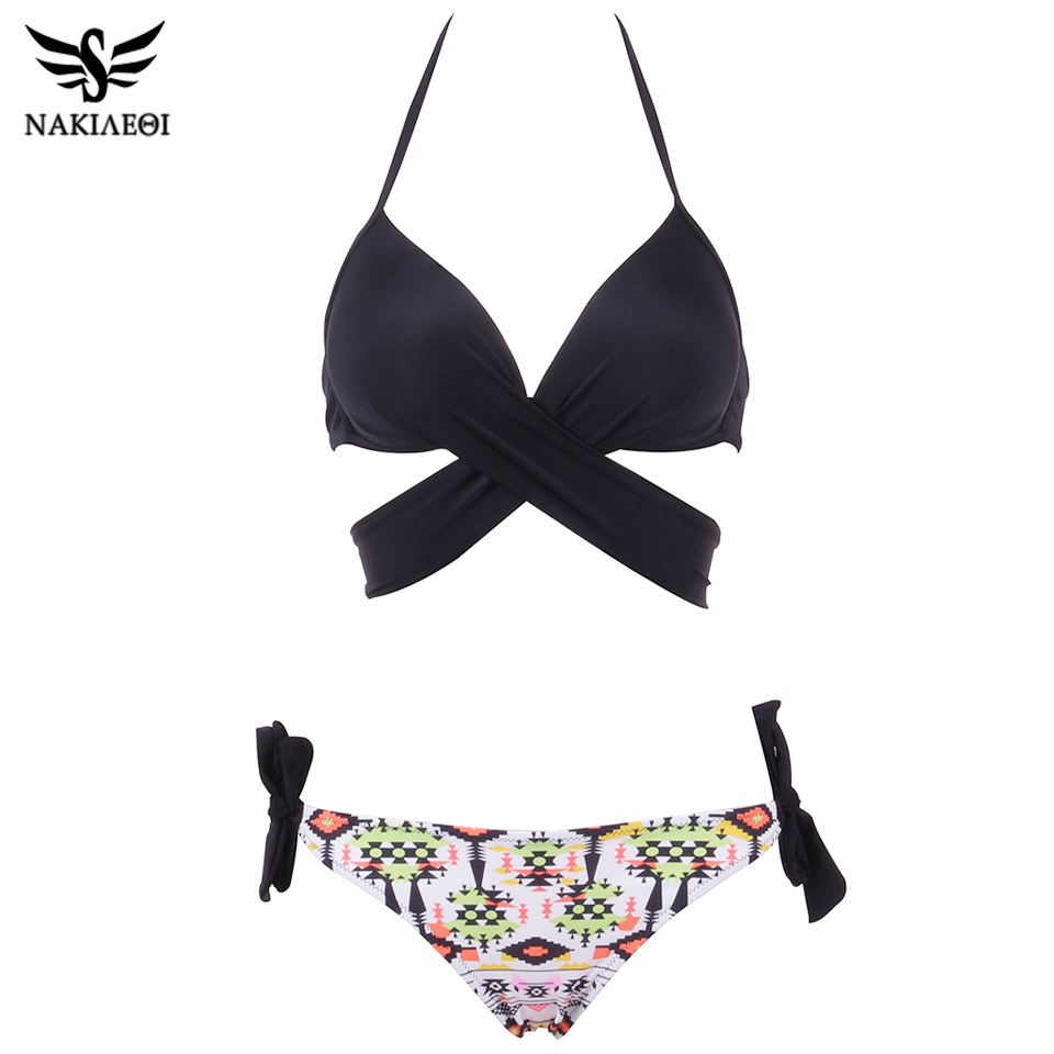NAKIAEOI 19 Sexy Bikini Women Swimsuit Push Up Swimwear Criss Cross Bandage Halter Bikini Set Beach Bathing Suit Swim Wear XXL 27