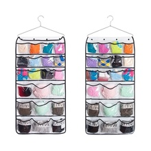 Transparent Double-Side Storage Bags Hanging Closet Cabin Dormitory Bedroom 42 Pockets Dot Grid Organizer Sack(China)