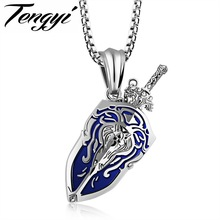 TENGYI Punk Sword & Shield Pendant Necklace For Man Vintage 316L Stainless Steel World of Warcraft Men Jewelry Necklace TY1162(China)
