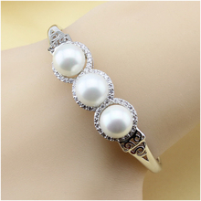 XUTAAYI Pearl Jewelry, simulated Pearl Bracelets & Bangles And White CZ , 925 Silver Overlay Bracelets For woman
