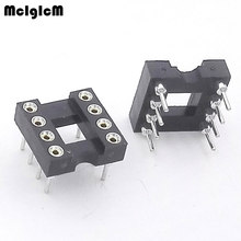 MCIGICM 30pcs Round Hole 8 Pins 2.54MM DIP IC Sockets Adaptor Solder Type IC Connector