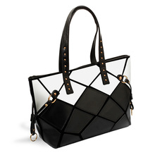 2017 Patchwork Square Handbag New High Quality PU leather Shoulder Bag Large Women Fashion Totes black white leopard