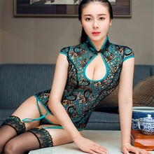 Perfect One Outfit Women Sexy Lace Embroidery Peacock Teddy Nighties Romantic Boutique Cheongsam Slips Lingerie Valentines Gifts(China)