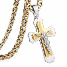 "Multilayer Cross Christ Jesus Pendant Necklace Stainless Steel Link Byzantine Chain Heavy Men Jewelry Gift 21.65"" 6mm MN0078(China)"