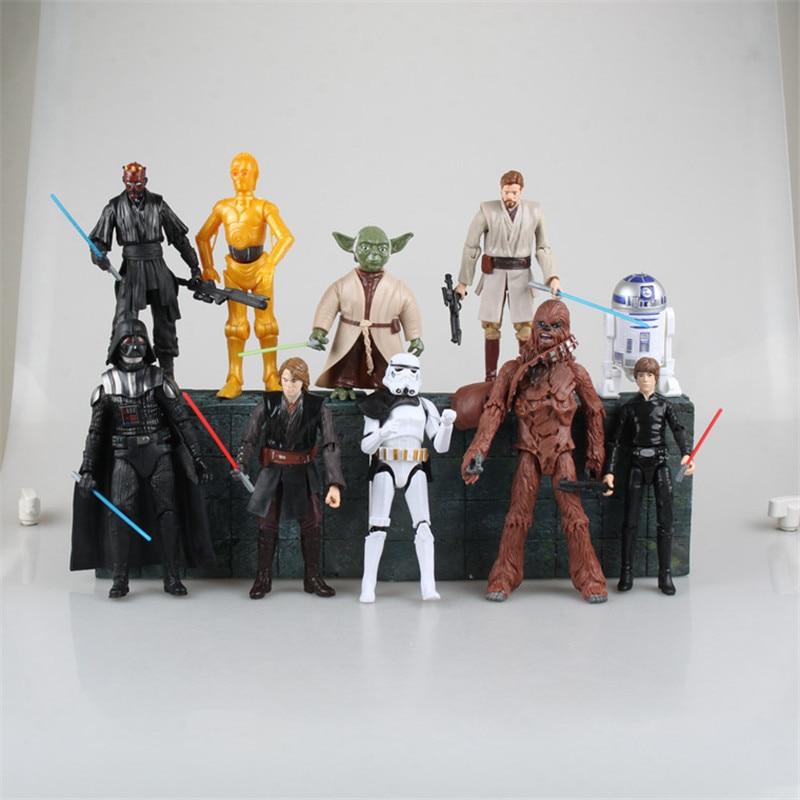 Star Wars Yoda Darth Vader Obi-Wan Stormtrooper C-3PO Brinquedos PVC Action Figure Juguetes Collectible Model Toys 10pcs/set<br><br>Aliexpress