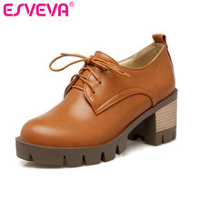 ESVEVA 2017 Beige High Heel Women Pumps Round Toe Thick Heel Lace Up Woman Shoes PU Platform Spring Autumn Shoesbig Size 34-43(China)