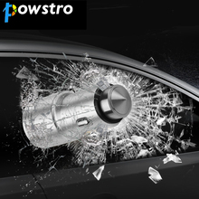 Powstro Car-Charger Metal Car Charger 2.1A USB Charge Port Emergency Survival Car Cigarette Lighter Charger Car Safety Hammer(China)
