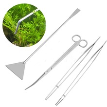 4 in 1 Aquotic Aquarium Plant Curve Straight Tweezer Scissor leveler Sand bulldozer grass waterweed Clipper Shear Cleaning Set