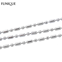 FUNIQUE Long Necklace Jewelry 10M Iron & Stainless Steel Ball Chains Findings 1.5mm Beads Chain Necklace For Making Jewelry