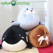 Bebecocoon Colorful Pillow Cushion Cute Dolphin/Seal/Whale/ Soft Stuffed Plush Doll Toy Girl Birthday Gift 45cm(China)